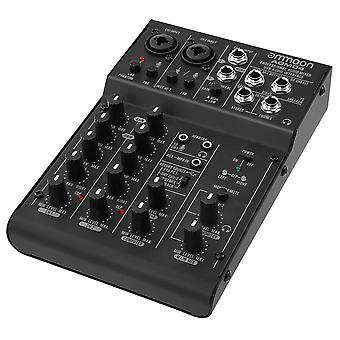 Ammoon agm04 4-kanavainen mini miksauskonsoli digitaalinen audiosekoitin 2-kaistainen eq sisäänrakennettu 48v phantom power 5v usb-käyttöinen mikseri audio