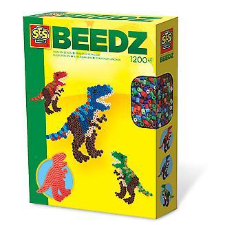 SES Creative - Beedz T-Rex Iron-on Beads Mosaic Set 1200 Iron-on Beads (Multicolor)