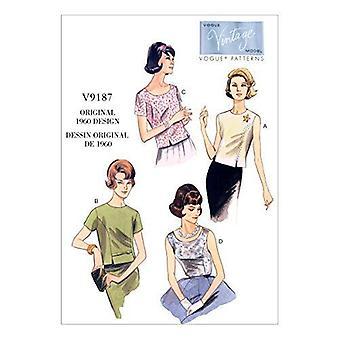 Vogue sy mønster 9187 Savner 1960-tallet Toppstørrelse 14-22