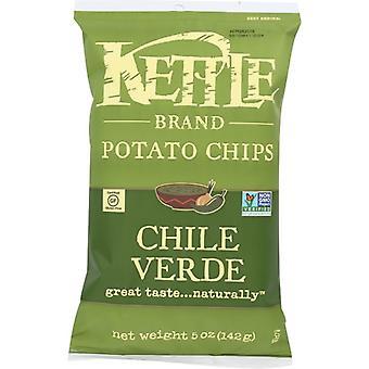 Kettle Foods Chips Ptato Chli Vrde, Caz de 15 X 5 Oz
