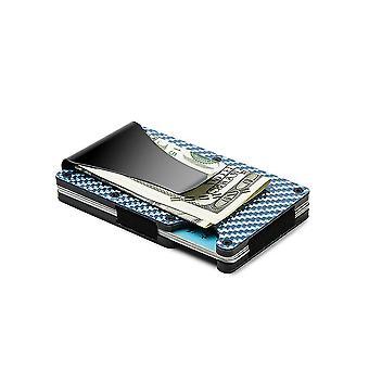 Men Rfid Blocking Slim Money Clip Carbon Fiber Credit Card Holder Pocket Wallet Clip(Blue)