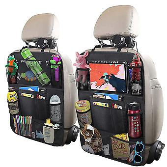 2 Pack Car Backseat Organizer,foldable Car Seat Back Protectors With Touch Screen Tablet Holder