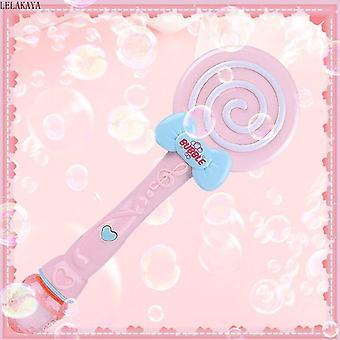 Lollipop Shape Wand Bubble Gun Blower Toy Summer Funny Electronic Automatic Magic Blowing (Pink)