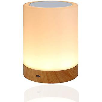Светодиодный ночной свет, детская ночная лампа прикроватная лампа с сенсорным управлением и USB-аккумуляторная и изменяющая цвет RGB диммируемая настольная лампа для спальни и гостиной, (белый)