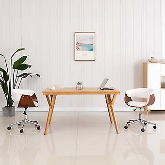 vidaXL chaises de salle à manger pivotantes 2 pcs. en simili-faux blanc