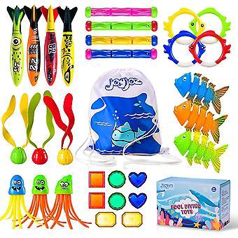 Kinder Tauchspielzeug 30PCS Schwimmbadespielzeug Tauchstöcke Tauchringe zum Schwimmbad, Sommer