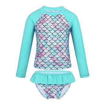 Baby Long Sleeve Fish Scales Pattern Swimwear Cyan 3Years Old
