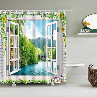 Imperméable à l'eau Polyester Tissu Salle de bain Douche Rideau Plage Paysage Fenêtre Vue Baignoire (120 * 180cm)