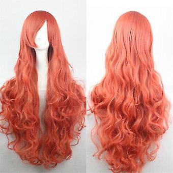 (Orange) Woman Long Curly Wigs Cosplay Halloween Costume Anime Hairs Wavy Full Wig Hair