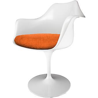 Fusion Living kiiltävä valkoinen ja kuvioitu oranssi kääntö nojatuoli