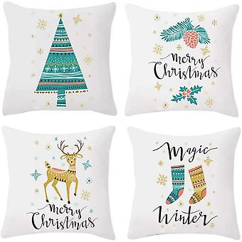 Set Of 4 Christmas Pillow Cover Cotton Linen Snowflake Sofa 18 By 18 Inches