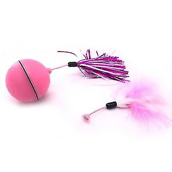 Cat toys electric cat toys rolling ball smart automatic cat toy laser feather toys for cats pink