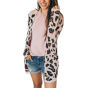 kvinner leopard cardigan jakke langermet åpen front jakke outwear topp