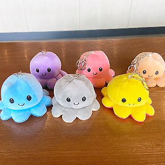 6 Pcs Reversible Octopus Plush Toys Key Chains Cute Personalized Keychains For Backpacks For Kids Women Girls Boys