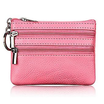 Women Men Leather Coin Purse Card Wallet Clutch Double Zipper Small Change Bag