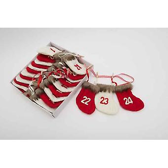 24 Red and White Christmas Sock Advent Calendar Decoration