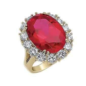 Red Synthetic Crystal and Cubic Zirconia (CZ) Ring with Gold