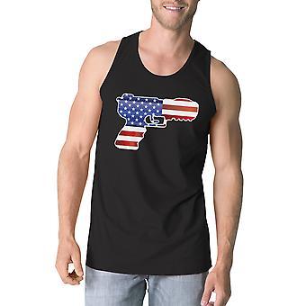 Pistol Shape amerikanske Flag mænd Tank Top unikke fjerde juli Tee