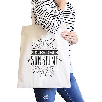 Enjoy The Sunshine Natural Cute Summer Heavy Cotton Canvas Tote Bag