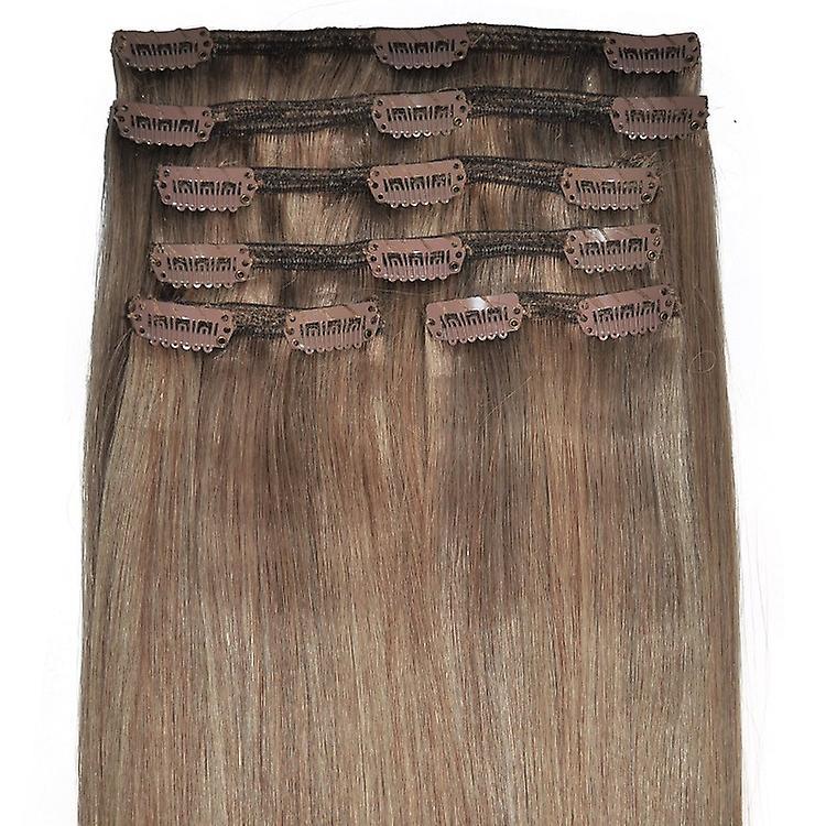 #8/18 brune clair à blond doré met en évidence la tête pleine - Clip-in Hair Extensions-