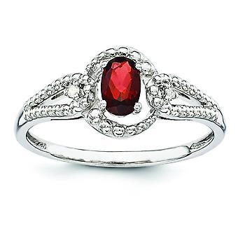925 שטרלינג מלוטש כסף לאחור מצופה רודיום הגארנט ויהלום טבעת תכשיטים מתנות לנשים-גודל טבעת: 5 כדי