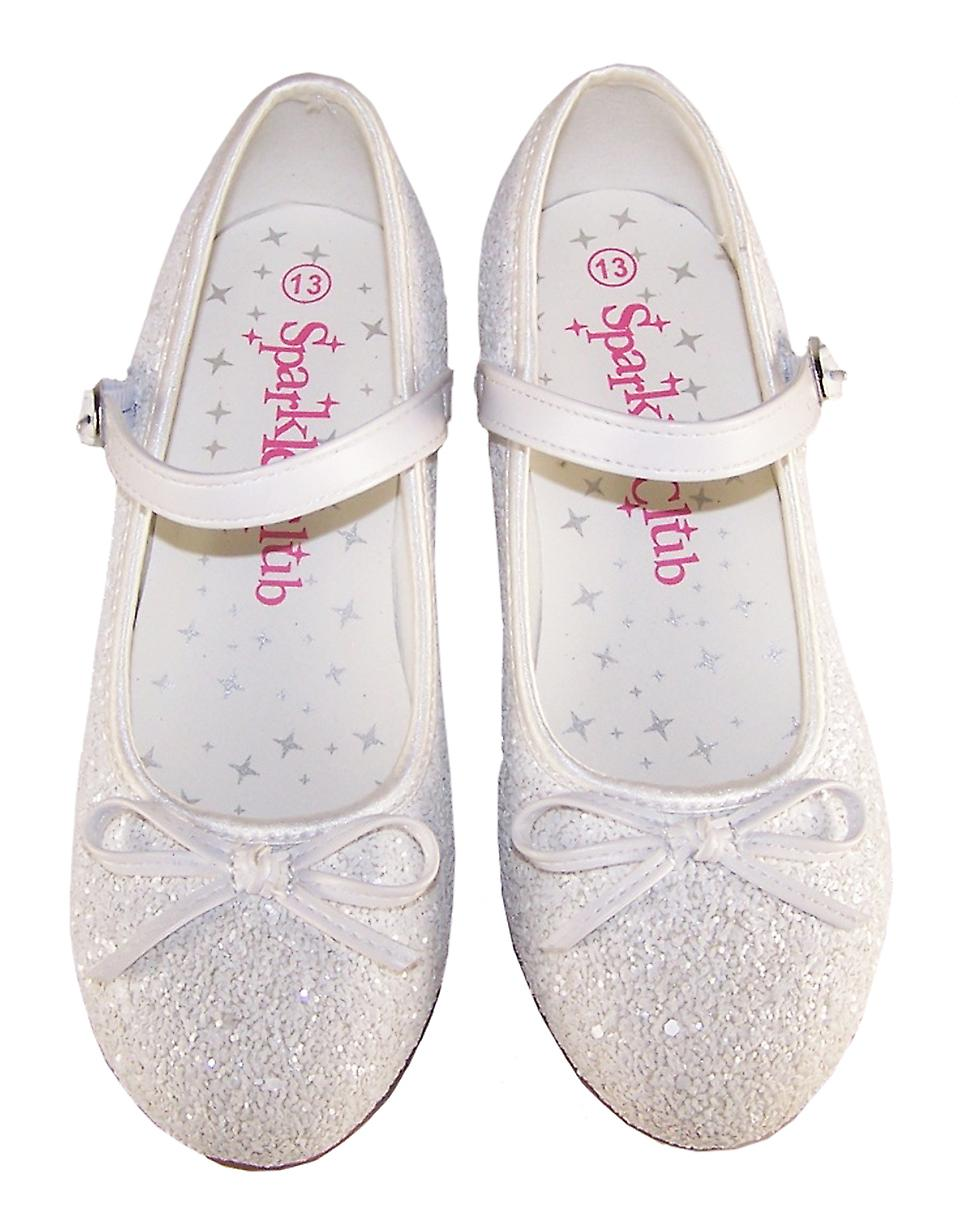 Girls white sparkly heeled bridesmaid shoes