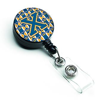 Letter X Football Blue and Gold Retractable Badge Reel