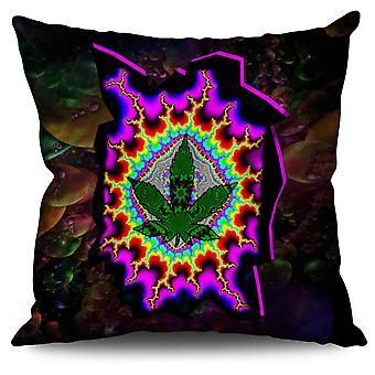 Rasta Weed Psychedelic Linen Cushion 30cm x 30cm | Wellcoda