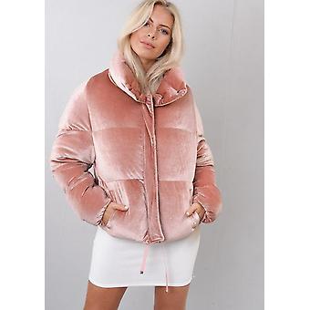 Sametti leikattu pallokala takki takki pinkki