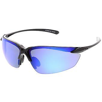 Sport Lunettes semi-sans TR-90 Wrap lunettes de soleil Ultra bras minces coloré miroir lentille 76 mm