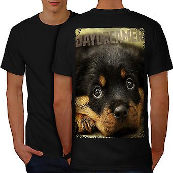 Daydreamer Puppy Cute Dog Men BlackT-shirt Back | Wellcoda