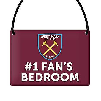 West Ham United FC officielle nummer 1 Fan fodbold Crest soveværelse tegn