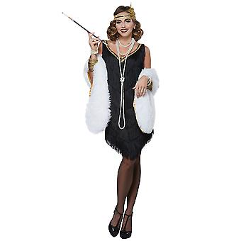Fabulous Flapper Deluxe 1920s Gatsby Charleston Womens Costume with Stole