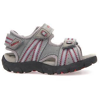 Geox pojkar Strada J4224A sandaler grå röd