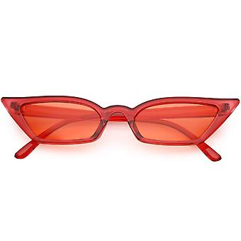 Women's Translucent Thin Extreme Cat Eye Sunglasses Rectangle Lens Sunglasses 47mm