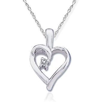 Diamond Solitaire Heart Wisiorek 14K Białe złoto z 18