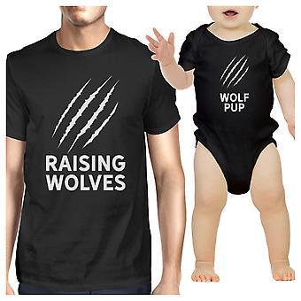 Verhoging wolven vader Baby bijpassende grafische Shirts zwarte giften voor papa