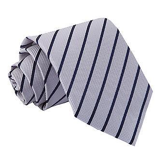 Silver & marinblå enda Stripe klassiska slips