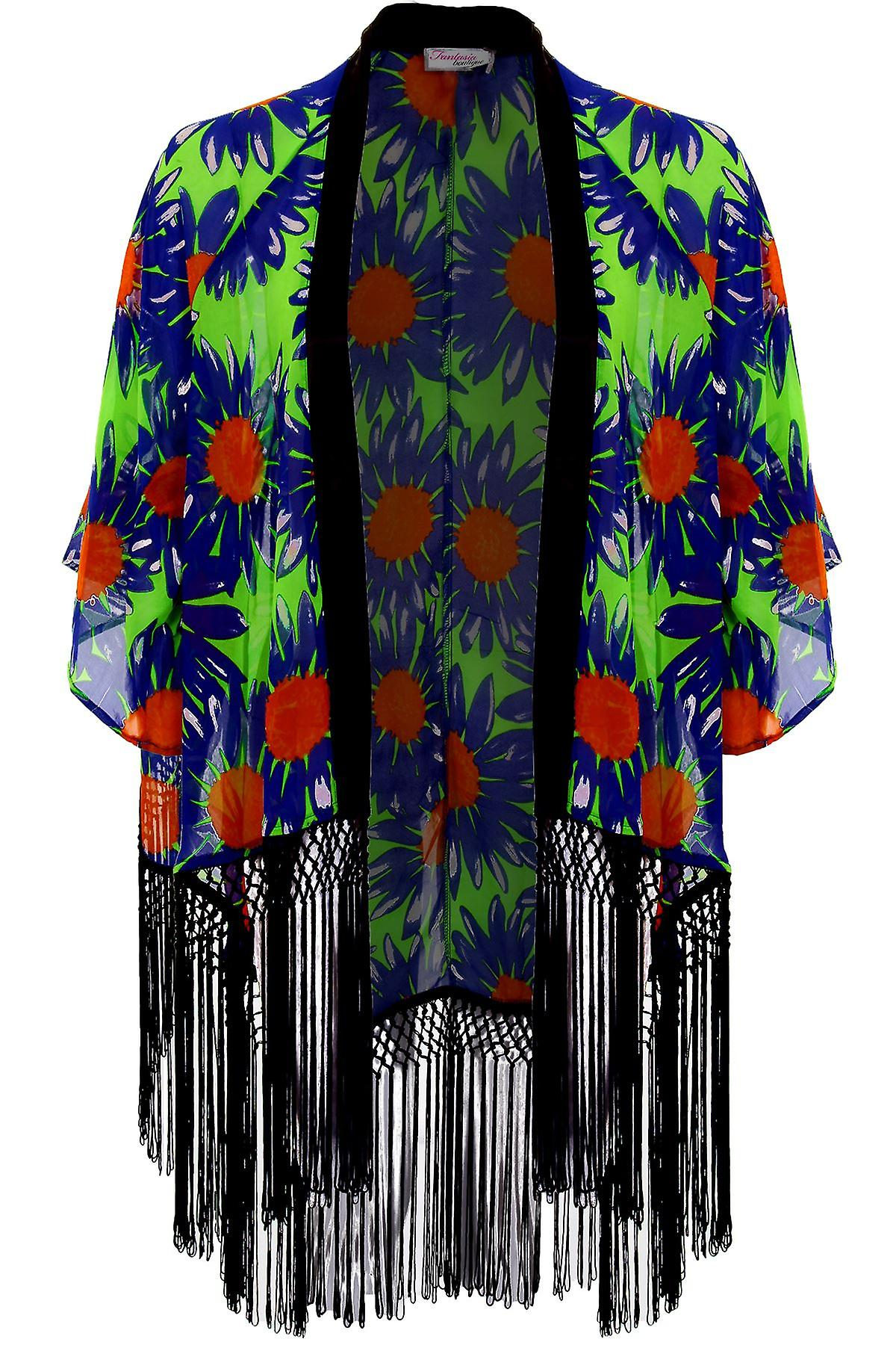 Ladies Flare Sleeve Chiffon Floral Print Open Front Tassel Women's Kimono Jacket