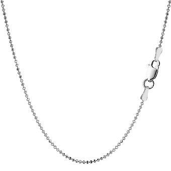 Стерлингового серебра родием ожерелье из бисера цепочки, 1, 2 мм