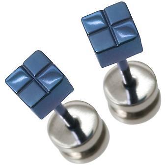 Quadrato piccolo di Ti2 titanio controllato orecchini - blu