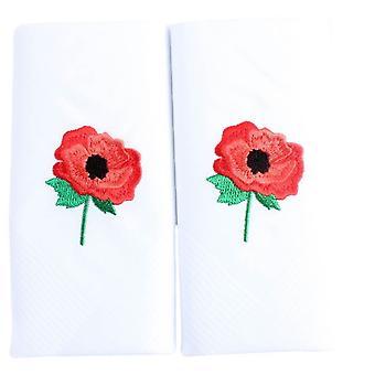 David Van Hagen Embroidered Poppy Handkerchief - White/Red
