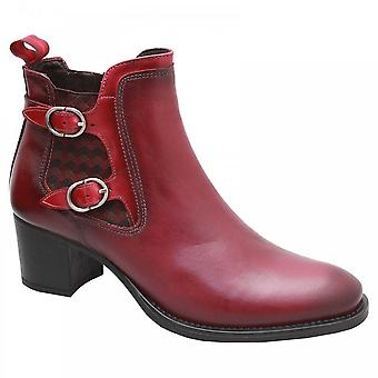 Luis Gonzalo Medium Block Heel Red Leather Ankle Boot