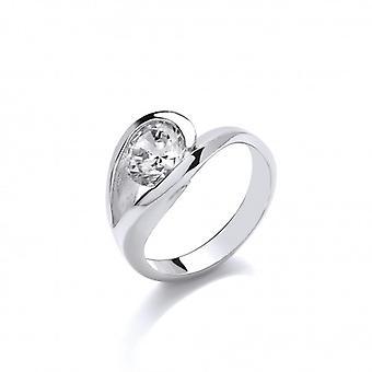 Cavendish francia elegáns ezüst és CZ Solitaire Eye Ring