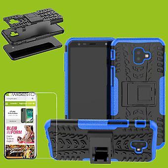 För Samsung Galaxy J6 plus J610F 2018 hybrid fall 2 bit blå + härdat glas väska fallet täcker sleeve