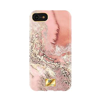 RF door Richmond & Finch Shell voor iPhone 8/7/6/SE - Roze Marbel Gold