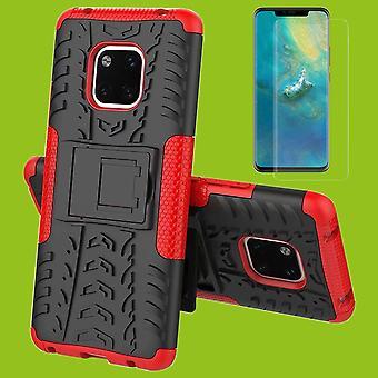Para Huawei companheiro 20 pedaço de caso 2 híbrido vermelho + manga da tampa da caixa do saco de vidro temperado d 2,5 H9 de 0,26 mm