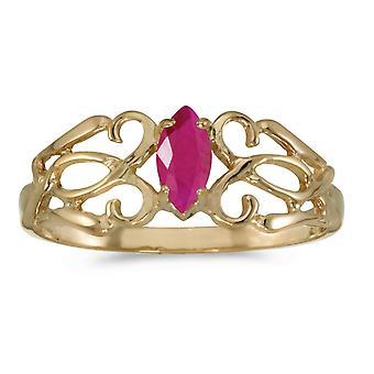LXR 14k Gul Guld Marquise Ruby Filagree Ring 0,21 ct