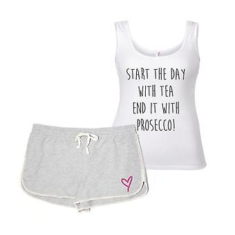 Start mit Tee am Ende es mit Prosecco Pyjama