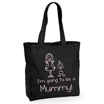 I'm Going to be a Mummy Black Cotton Shopping Bag